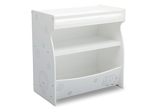 Delta Children 2-in-1 Changing Table and Storage Unit, Bianca White with Animal Motif (Baby White Table Changing)