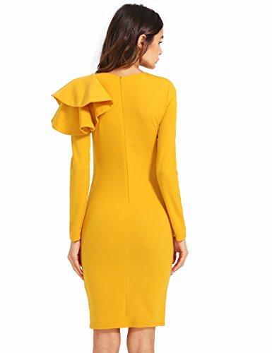 Yellow Length Long Knee Elegant Sleeve Women's Dress Bodycon Floerns 8wOpq8