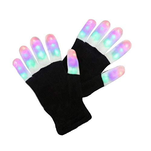 ETCBUYS Light Gloves - Finger Light Flashing LED Gloves Warm with Flashing Lights and 6 Different Modes for Men Women & Kids, Holiday Ideas and Gloves with Lights Birthday Light Show Party]()