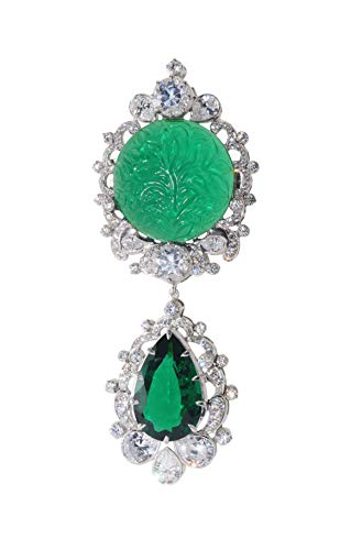 Adastra Jewelry Handcrafted Green Round Vintage Crown Engraved Filigree Style CZ Brooch Pin Solid 925 Sterling Silver