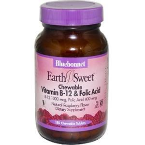 Витамин B-12 и фолиевая кислота Bluebonnet 180 Жевательные таблетки