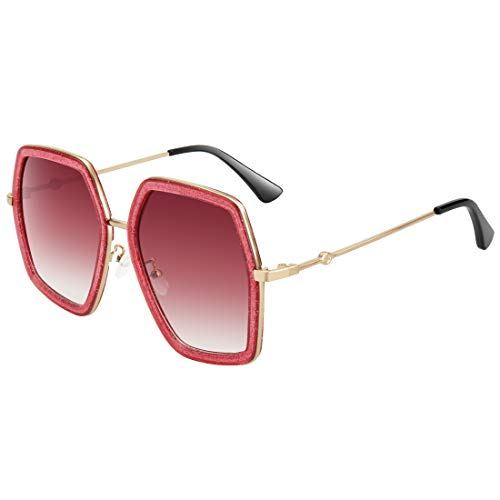 WOWSUN Oversized Fashion Sunglasses For Women Irregular Inspired Brand Designer Style (Red Sparkling Frame - Red Gradient Lens, 65)
