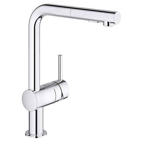 GROHE 30300000 Minta Single-Handle Pull-Out Kitchen Faucet, Starlight Chrome
