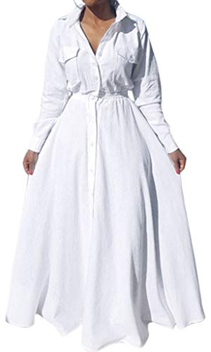 Bodycon4U Women's Pleated Long Sleeve Party Cocktail Long Maxi Button Down White Shirt Dress 2XL