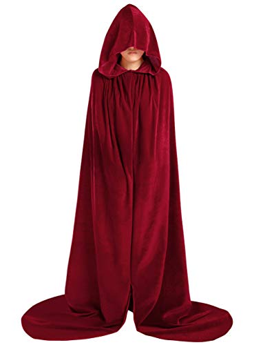 (MORYSONG Full Length Velvet Hooded Cape Costume Halloween Party Accessory L Burgundy)