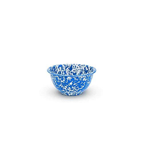 (Enamelware Footed Bowl, 16 ounce, Blue/White Splatter (4))