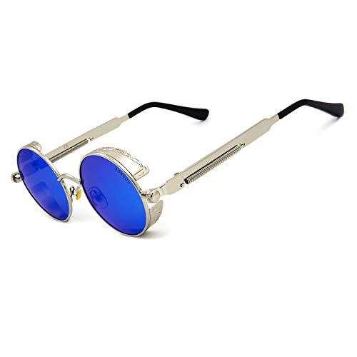 Ronsou Steampunk Style Round Vintage Polarized Sunglasses Retro Eyewear UV400 Protection Matel Frame silver frame/blue lens ()