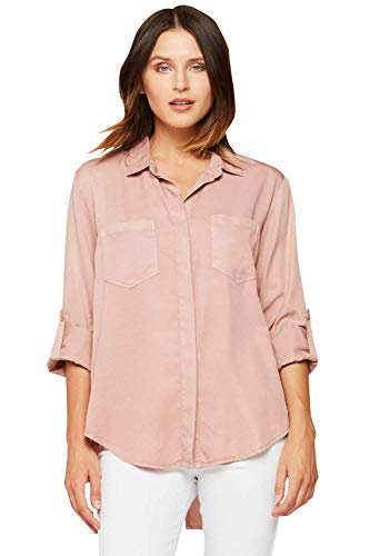 VELVET HEART 'Riley' Womens Button Down Chambray Shirt, Front Pockets & Rolled Tab Sleeves. Classic Denim Look, Timeless Chic! - Big Velvet Shirt