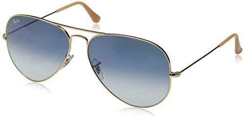 (Ray-Ban 3025 Aviator Large Metal Non-Mirrored Non-Polarized Sunglasses, Gold/Light Blue Gradient (001/3F), 62mm)