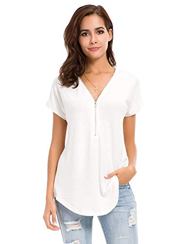 (Women's Tops Sexy Deep V Neck Zip Up Short Sleeve T-Shirt Tunic Casual Loose Blouse White)