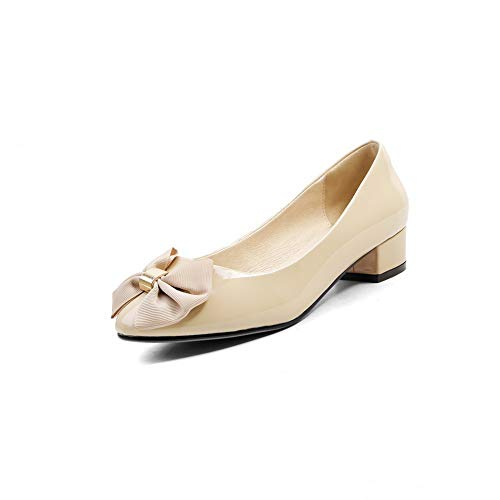 Urethane Bows BalaMasa Womens Shoes Pumps Solid APL11058 apricot Travel ErIwrq
