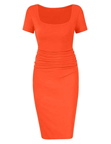 Club Coat - BORIFLORS Women's Casual Basic Ruched Bodycon Dresses Short Sleeve Sexy Club Midi Dress,Large,Orange-red
