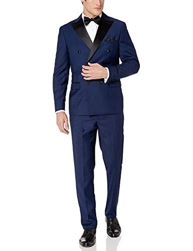Double Breasted Shawl Collar - Adam Baker Men's 91003 Regular Fit 2-Piece Double Breasted Shawl Collar Tuxedo - Midnight Blue - 38L