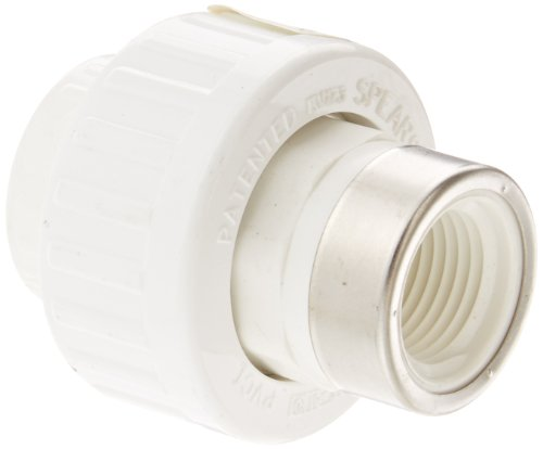 Spears 459-SR Series PVC Pipe Fitting, Union with Buna O-Ring, Schedule 40, 1/2