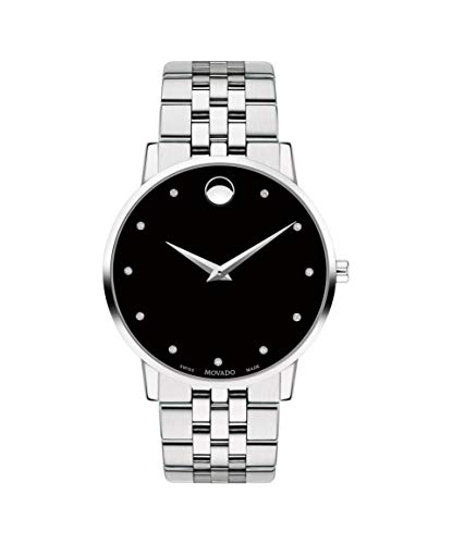 Movado Museum Classic, Stainless Steel Case, Black Dial, Stainless Steel Bracelet, Men, 0607201 ()