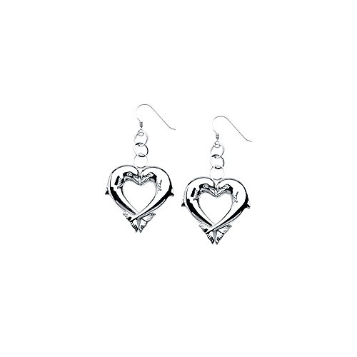 ium Plated Heart Shaped French Wire Dolphin Earrings (Dolphin French Wire Earrings)