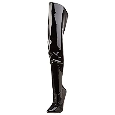 Womens Metal High Heels Black Thigh High Boots Fetish Bedroom Shoes 6 Inch  Heel