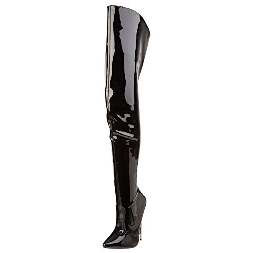Summitfashions Womens Metal High Heels Black Thigh High Boots Fetish Bedroom Shoes 6 Inch Heel Size: 9