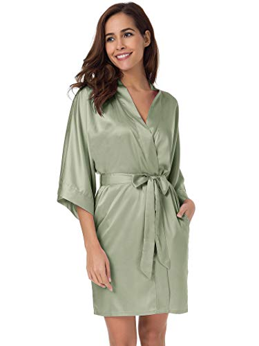 SIORO Women's Satin Robes Silk Kimono Bathrobe for Bride Bridesmaids Wedding Party Loungewear Short,Sage Green ()