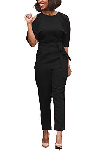 Combinaisons Dos Pantalons Epaules Combi Longues Femmes Nu Ceinture Noir avec Kelice wq0IE1w
