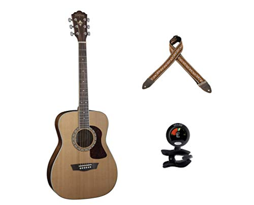 Washburn Heritage Series Acoustic Folk Guitar - Solid Red Cedar Top+Snark SN-5 Clip-On Tuner+ Levy's Leathers 2 Jacquard Weave Guitar Strap
