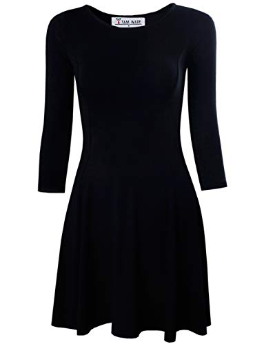 TAM WARE Women's Casual Slim Fit and Flare Round Neckline Dress TWCWD052-BLACK-US S/M(Tag Size M) -