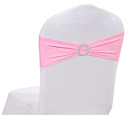 mds Pack of 200 Pcs Spandex Chair Sashes Bows Elastic Chair Bands Ties with Buckle Slider Bow for Wedding Decoration Lycra Slider Sashes Bow - Pink