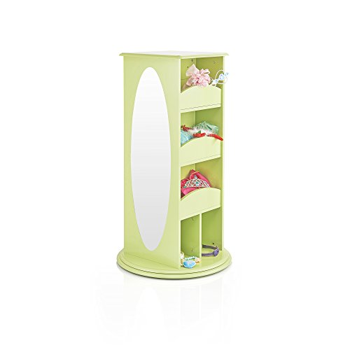 Guidecraft Rotating Dress Up Storage - Light Green: Kids' Pretend Play Cothes, Shoes and Costume Closet with 2 Mirrors, Shelves & Hooks - Toddlers Playroom Organizer