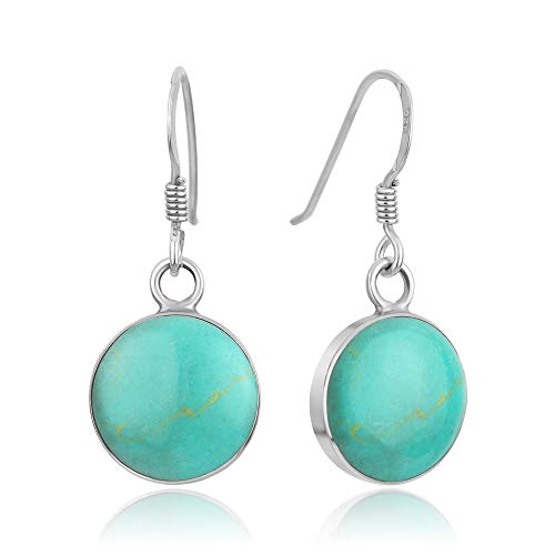 - 925 Sterling Silver Blue Turquoise Stone Round Dangle Hook Earrings