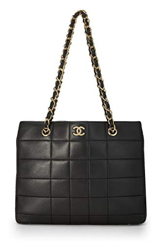 Chanel Large Tote - CHANEL Black Quilted Calfskin Chocolate Bar Tote (Pre-Owned)