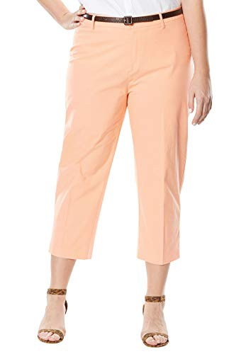 Jessica London Women's Plus Size Capri Pants in Poplin - Soft Peach, 18