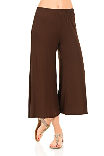 iconic luxe Women's Elastic Waist Jersey Culottes Medium Brown