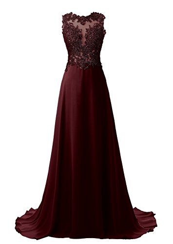 Callmelady Lace Appliqued Prom Dresses 2018 Long Evening Gowns For Women Formal (Dark Burgundy, US4)