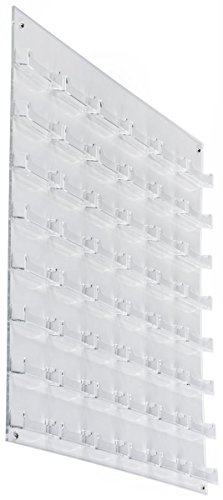 Displays2go Business Card Holder, 48 Pockets, Wall Mount, 0.75-Inch Deep Pockets, Clear Acrylic (BCCLWM48)