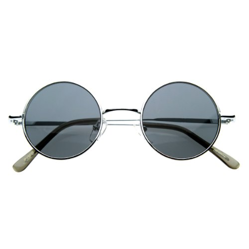 Small Retro-Vintage Style Lennon Inspired Round Metal Circle Sunglasses (Silver)