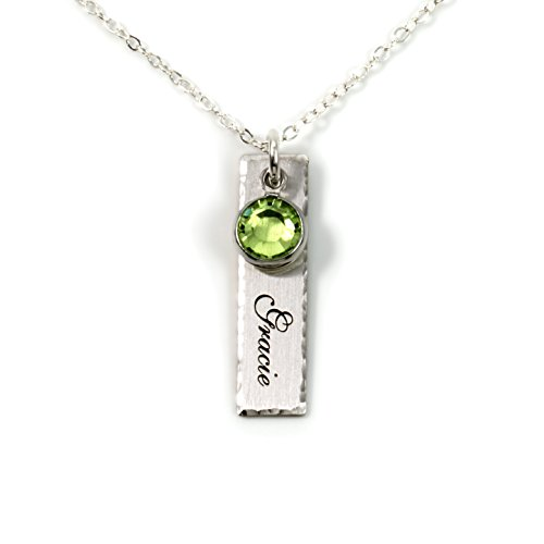 (Single Edge-Hammered Personalized Charm Necklace. Customize a Sterling Silver Rectangular Pendant with Name of Your Choice. Choose a Swarovski Birthstones, and 925 Chain. Makes Gifts for Her)