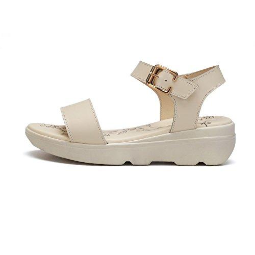 Amoonyfashion Kvinna Låga Klackar Mjuka Material Fast Spänne Öppen Tå Plattformar-sandaler Beige