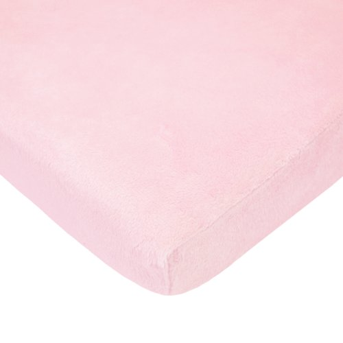 TL Care Heavenly Soft Chenille Mini Crib Sheet, Pink, 24 x 38, for Girls