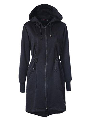 Doreen Womens Casual Long Zip Up Hooded Hoodies Tunic Sweatshirt Hoodie Jacket Coat Black Size XL