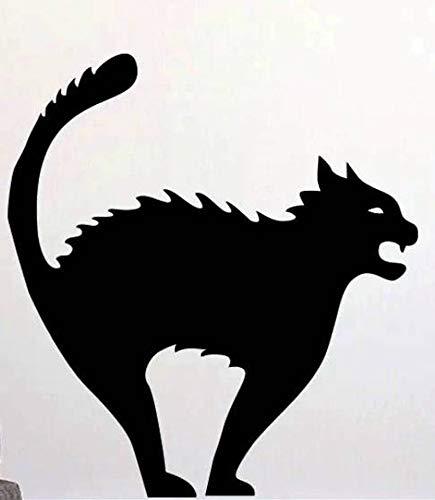 CARAPOLLY Black Halloween cat, Die Cut Vinyl, Car Decal Sticker, for Car, Window, Bumper Sticker, Truck, Laptop, Walls, Computer, Men, Women, -
