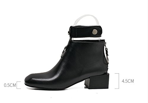 Veribuy Womens Low Heel Ankle Boots Punk Ring Bootie Martin Boots