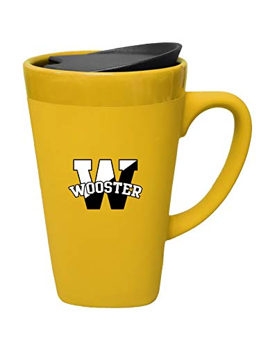 The Fanatic Group College of Wooster Ceramic Mug with Swivel Lid, Design-1 - Gold