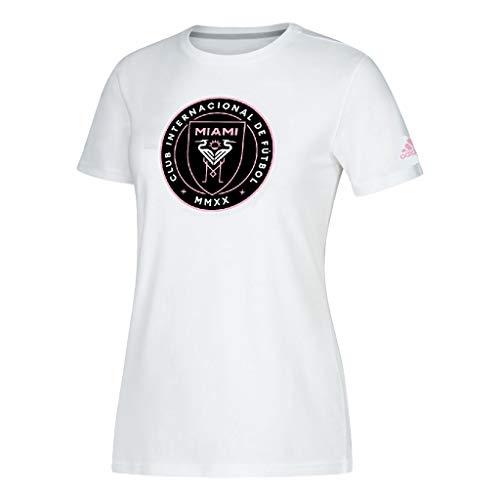 - adidas Inter Miami CF Women's Primary Team Logo Performance T-Shirt (White, Small)