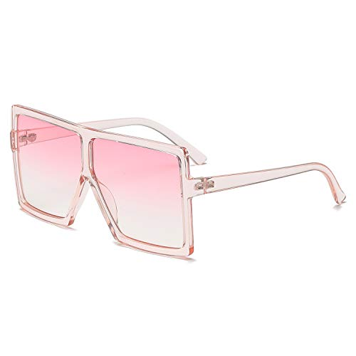 GRFISIA Square Oversized Sunglasses for Women Men Flat Top Fashion Shades (Clear Pink Frame- Pink Lens, 2.56)