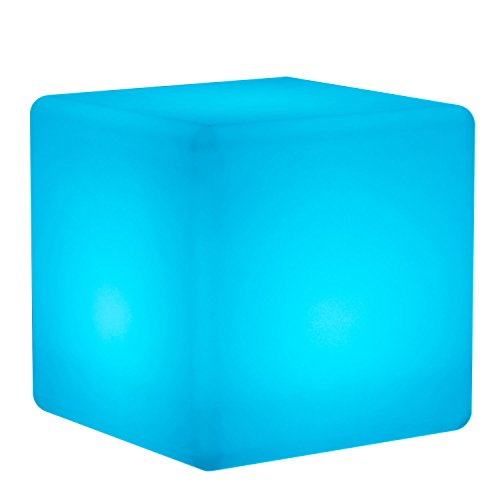 Mr.Go 14-inch 35cm Rechargeable LED Color Cube Light With Remote Control Magic RGB Color Changing Side Table Stool Home Bedroom Patio Pool Party Mood Lamp Night Light Romatic Decorative Lighting by Mr.Go