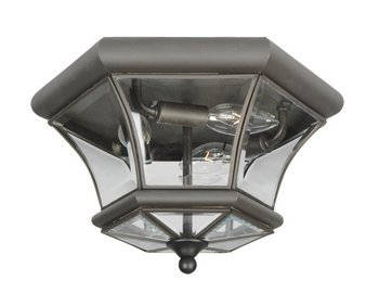 Livex Lighting 7053-07 Monterey 3 Light Outdoor/Indoor Bronze Finish Solid Brass Flush Mount  with Clear Beveled Glass
