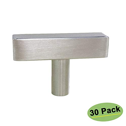 homdiy Kitchen Cabinet Knobs Brushed Nickel 30 Pack HDJ22SN Single Hole Pulls with 2inch Overall Length Brushed Nickel Door Knob Kitchen Hardware for Cabinets Sliver Drawer ()