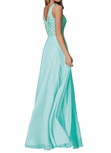 ausschnitt Himmel Abendkleider Neu mit Partykleider Abschlussballkleider Chiffon Damen Charmant Blau Promkleider Langes V wnqCpnRg