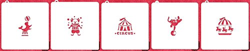 Circus Cookie Stencil - American Confections - Clown, Carousel, Circus Tent - Set of 5