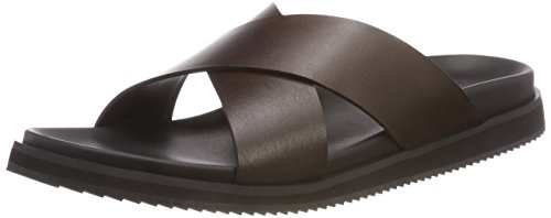 Bertie Men's Idiom Flip Flops Brown (Brown Leather)
